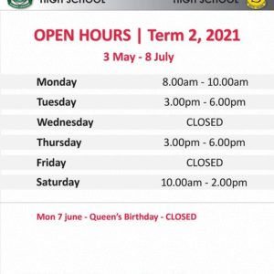 Uniform Group – Shop Opening Hours for Term 2, 2021